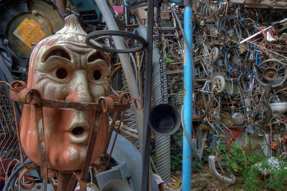 Back entrance of Cathedral of Junk at 4422...s backyard folk art). Austin, Texas