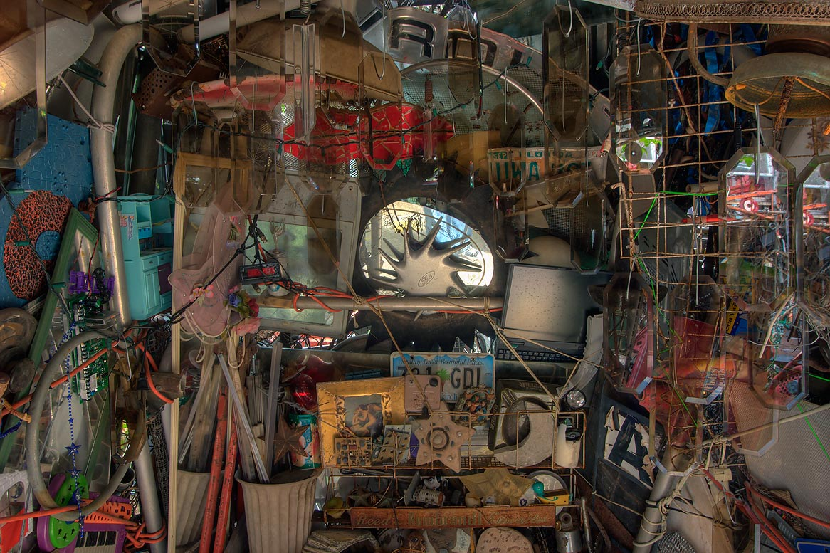 Alcove in Cathedral of Junk at 4422 Lareina Dr...s backyard folk art). Austin, Texas