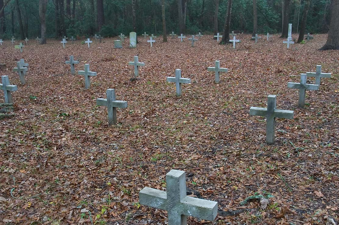 Crosses in Negro Section of Oakwood Cemetery on a...in unmarked graves. Huntsville, Texas