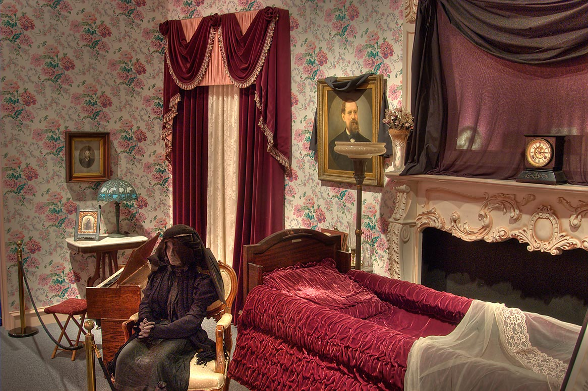 Victorian era funeral parlor in National Museum of Funeral History. Houston, Texas