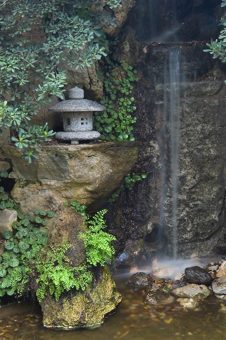 Waterfall in Japanese garden in Zilker Botanical Gardens, Austin, Texas