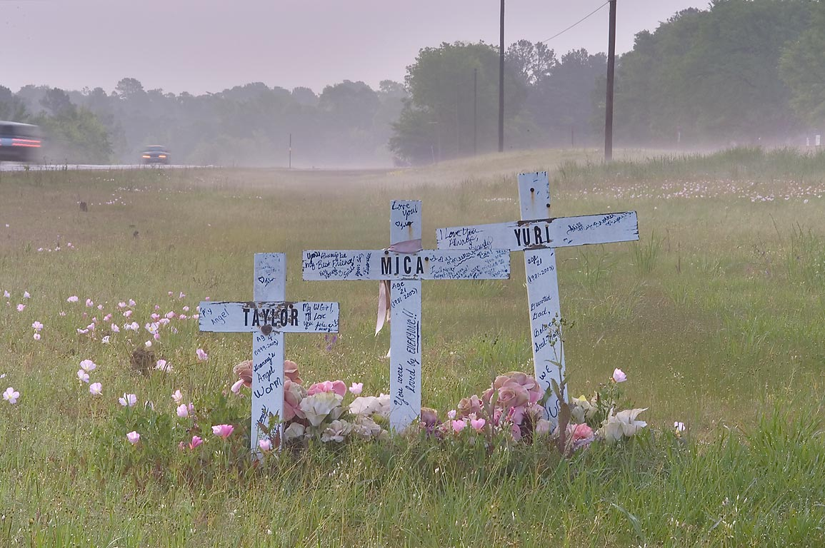 Crosses of a roadside memorial on Rd. 105 between Plantersville and Montgomery. Texas