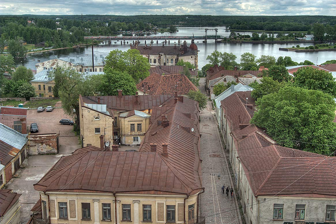 View to the north-east from Clock Tower. Vyborg, Russia