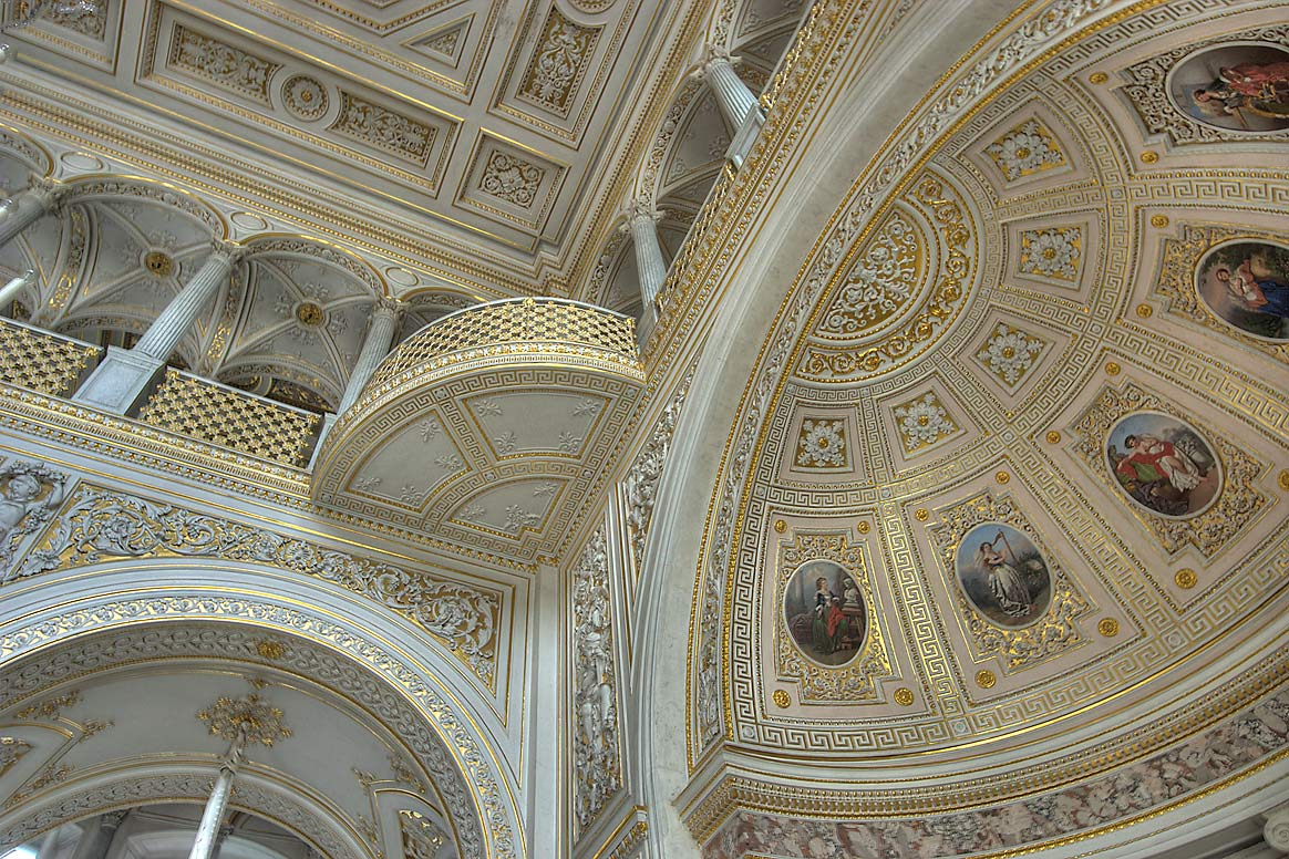 Vaults of Pavilion Hall in Hermitage Museum. St.Petersburg, Russia