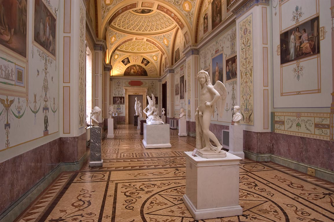 Replicas of ancient art in Gallery of History of...Museum. St.Petersburg, Russia