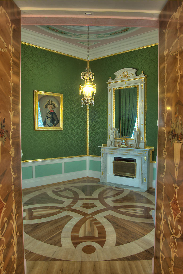 Green Corner Parlor of Gatchina Palace. Gatchina, a suburb of St.Petersburg, Russia