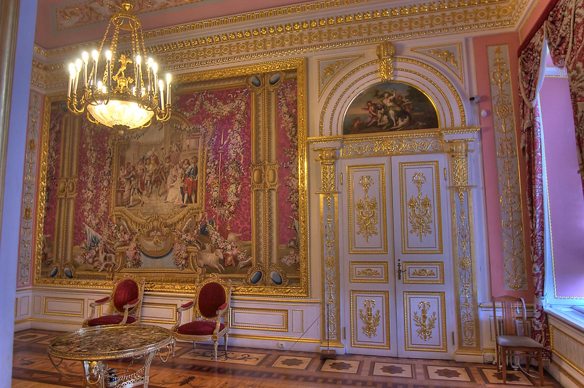 Crimson Parlor, with visible door decorations, of...a suburb of St.Petersburg, Russia