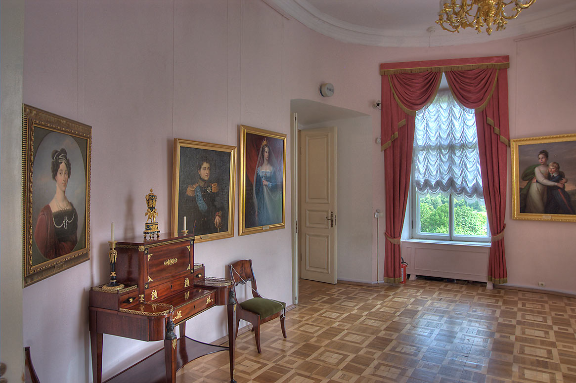 Room with portraits in Gatchina Palace. Gatchina, a suburb of St.Petersburg, Russia