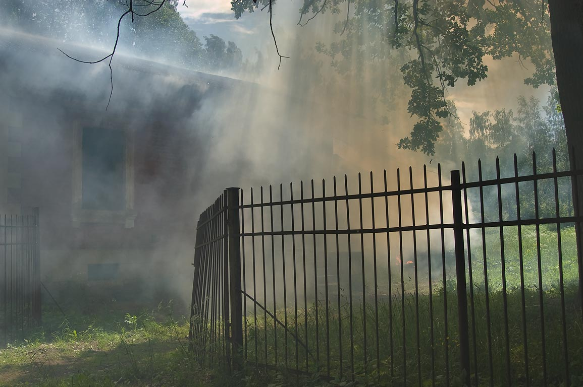 Fire near Sylvia Gate in Gatchina Park. Gatchina, a suburb of St.Petersburg, Russia