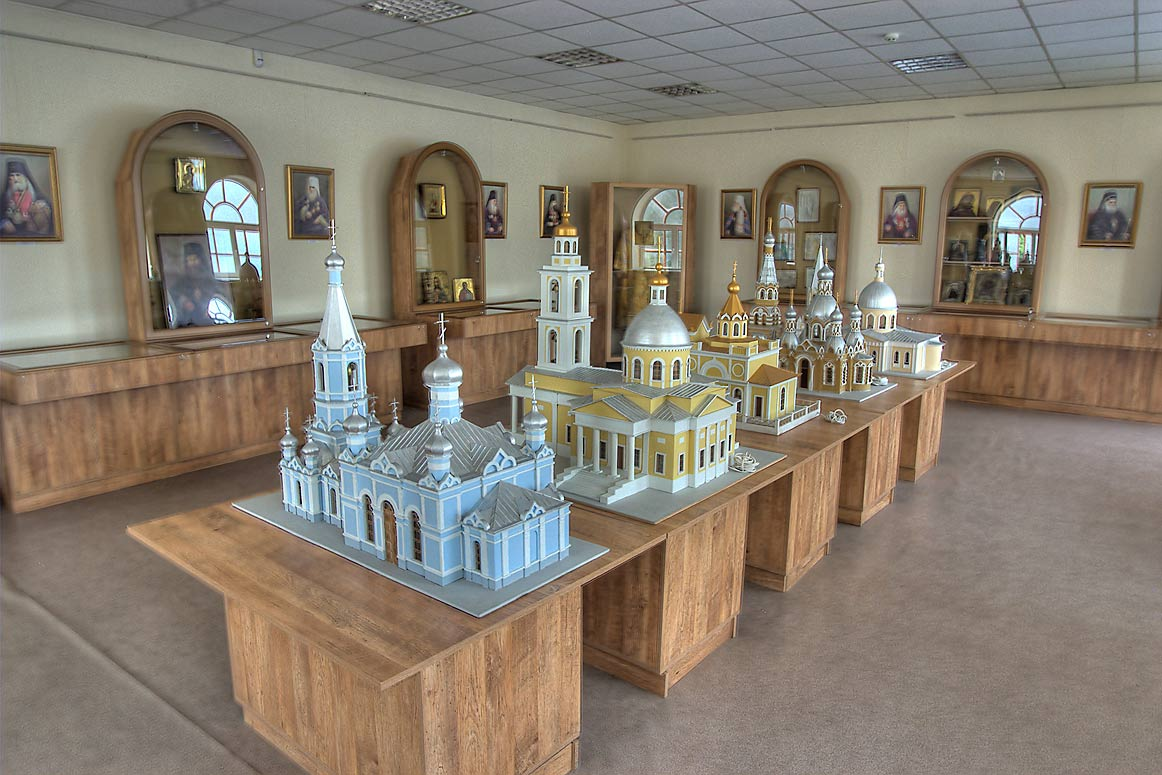 Church models in Museum of Orthodox Christian...Monastery for women. Odessa, Ukraine
