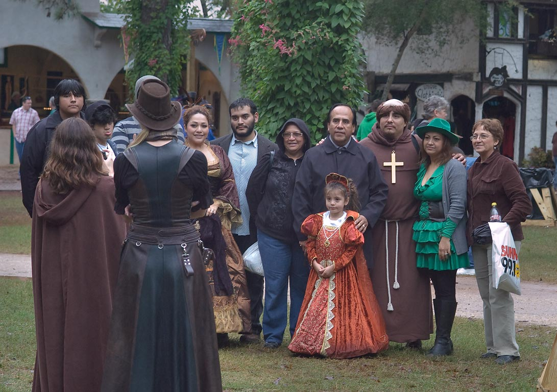Group of costumed visitors at Texas Renaissance Festival. Plantersville, Texas