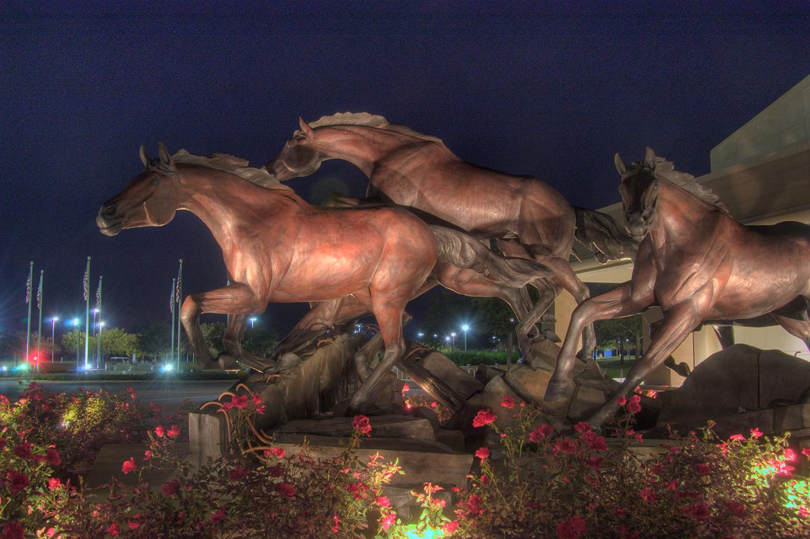 "Horse statue ""The Day the Wall Came Down"" near...Library Center. College Station, Texas"