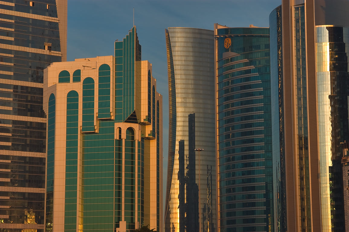 Towers of West Bay from Sheraton Park at sunrise. Doha, Qatar