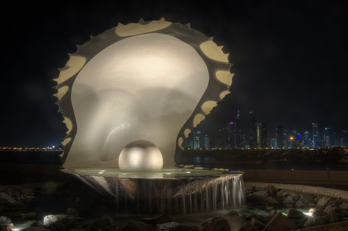 Oyster and Pearl statue (a homage to pearl-diving...on Corniche at evening. Doha, Qatar
