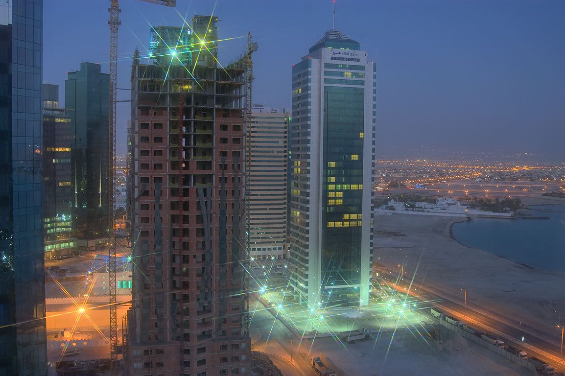Beach Tower and construction area from 19th floor of Somerset West Bay hotel. Doha, Qatar