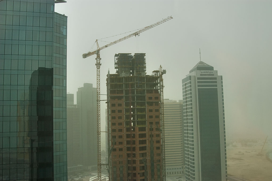 West Bay towers during dust storm from a window of Somerset West Bay hotel. Doha, Qatar