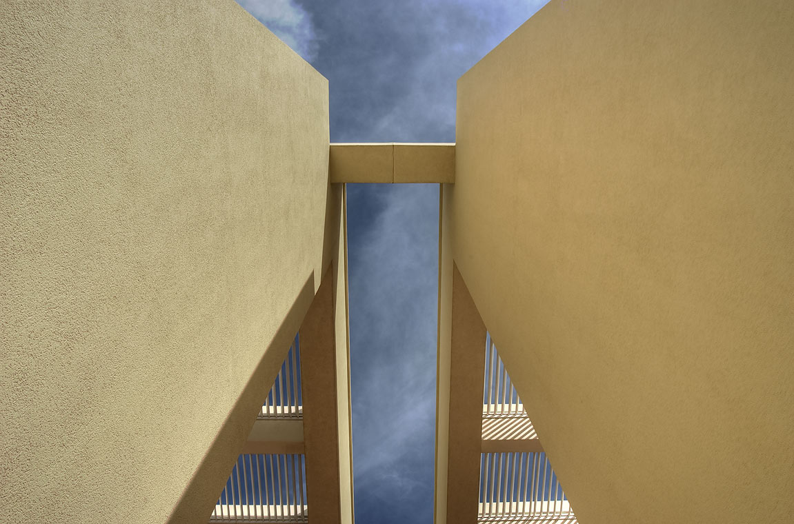 Architectural detail of west entrance of TAMUQ...in Education City campus. Doha, Qatar