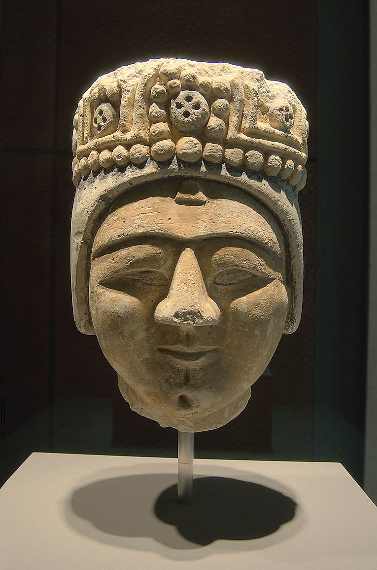 Stucco head from a statue (Iran, Rayy, c. 1200...in Museum of Islamic Art. Doha, Qatar