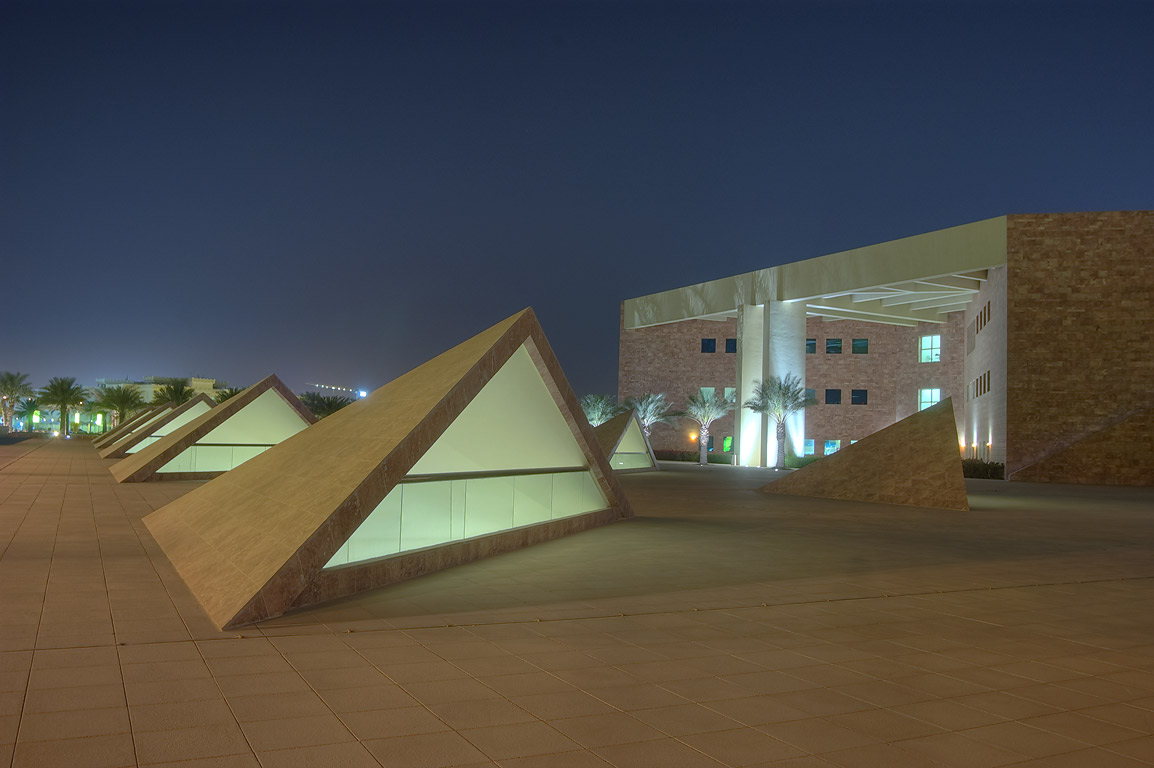 Underground parking south from TAMUQ research...City campus at evening. Doha, Qatar