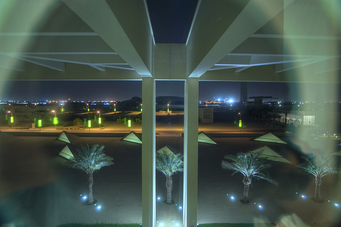 View to the south from a window of TAMUQ research...City campus at evening. Doha, Qatar