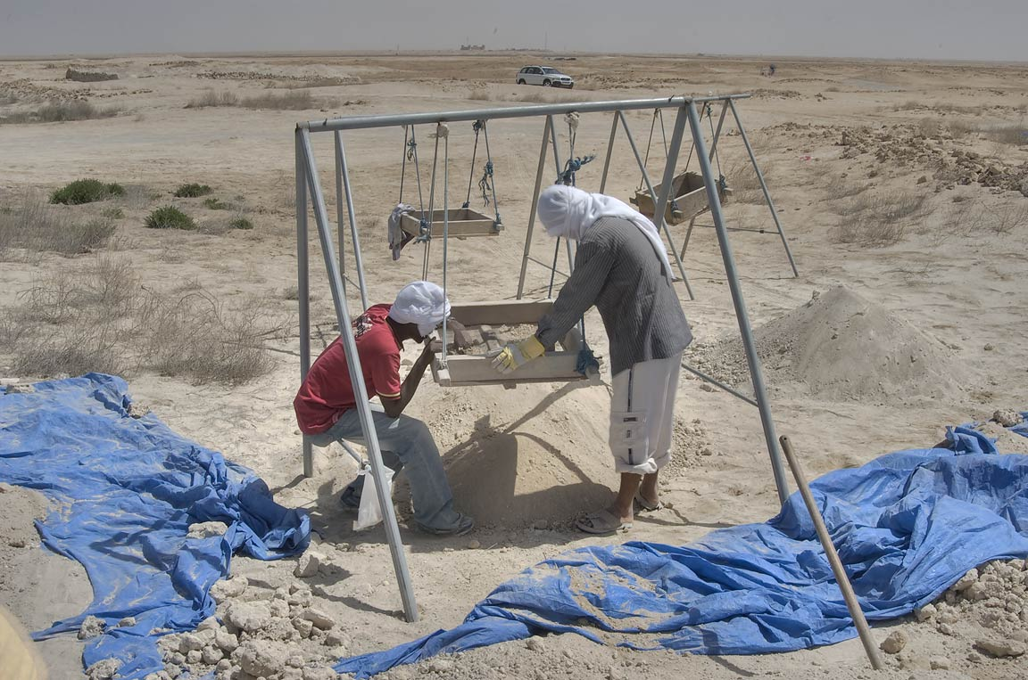 Excavations of ruins of Zubara City (archeology site) on northwest coast. Qatar