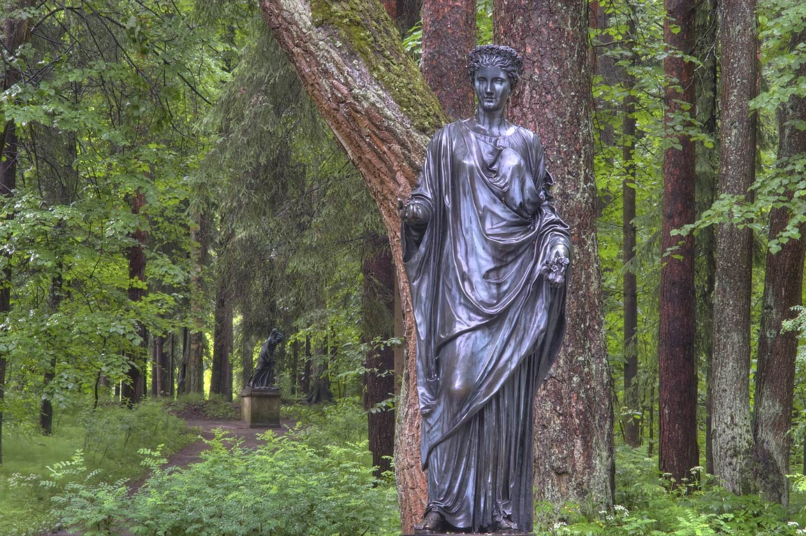 Sculpture of Flora, a goddess of flowers and the...Park, south from St.Petersburg, Russia