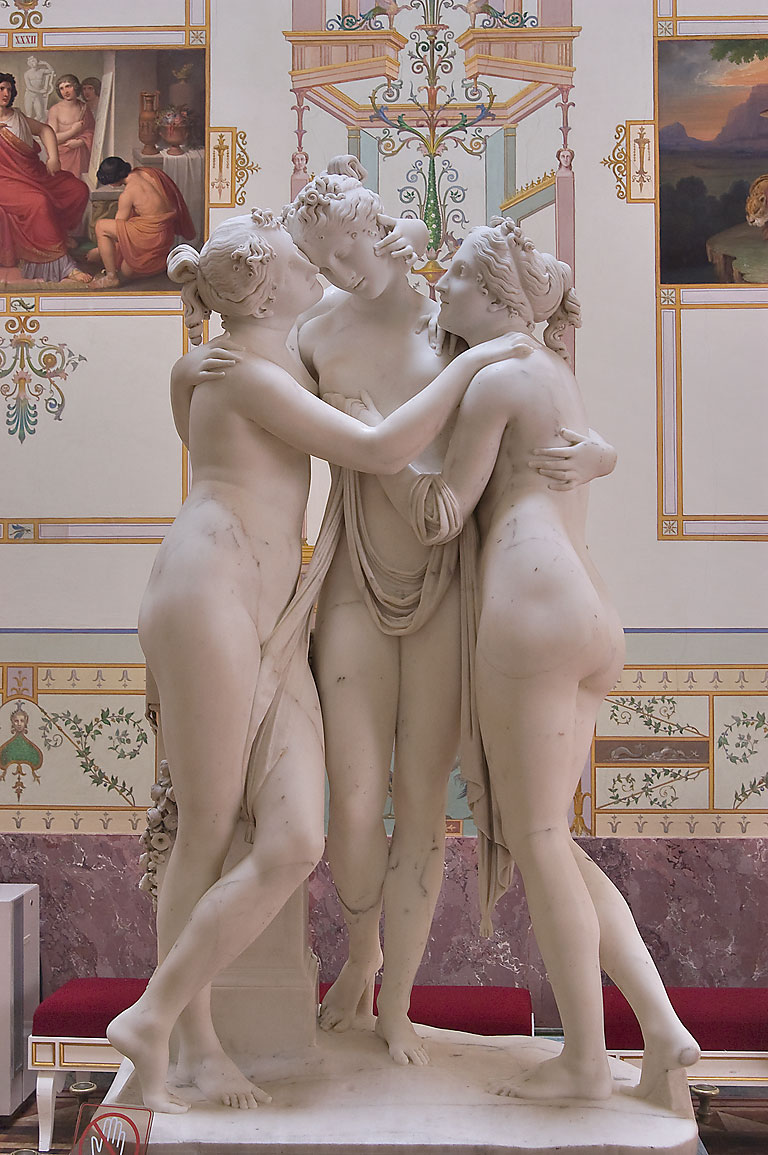 Three Graces sculpture (mythological goddesses of...Museum. St.Petersburg, Russia