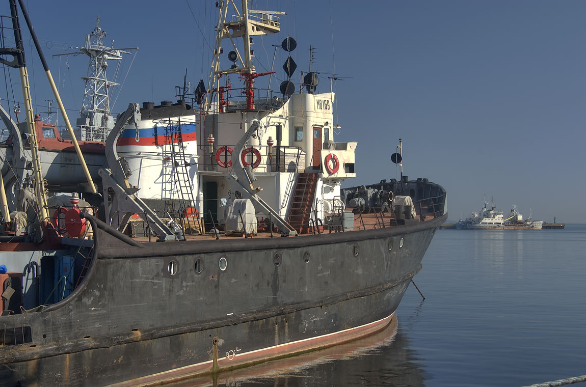 Seagoing tug ship MB-169 in Yuzhnaya Stenka...a suburb of St.Petersburg, Russia