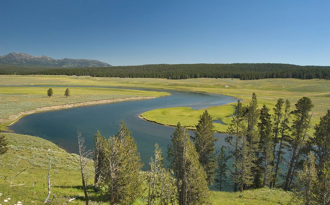 Valley of Yellowstone River, view from Grand Loop Rd.. Yellowstone Park, Wyoming