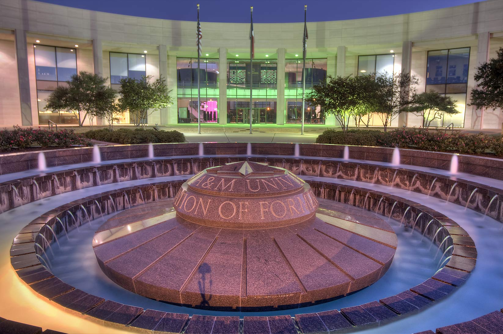 Fountain in front of Clayton Williams Alumni...A&M University. College Station, Texas
