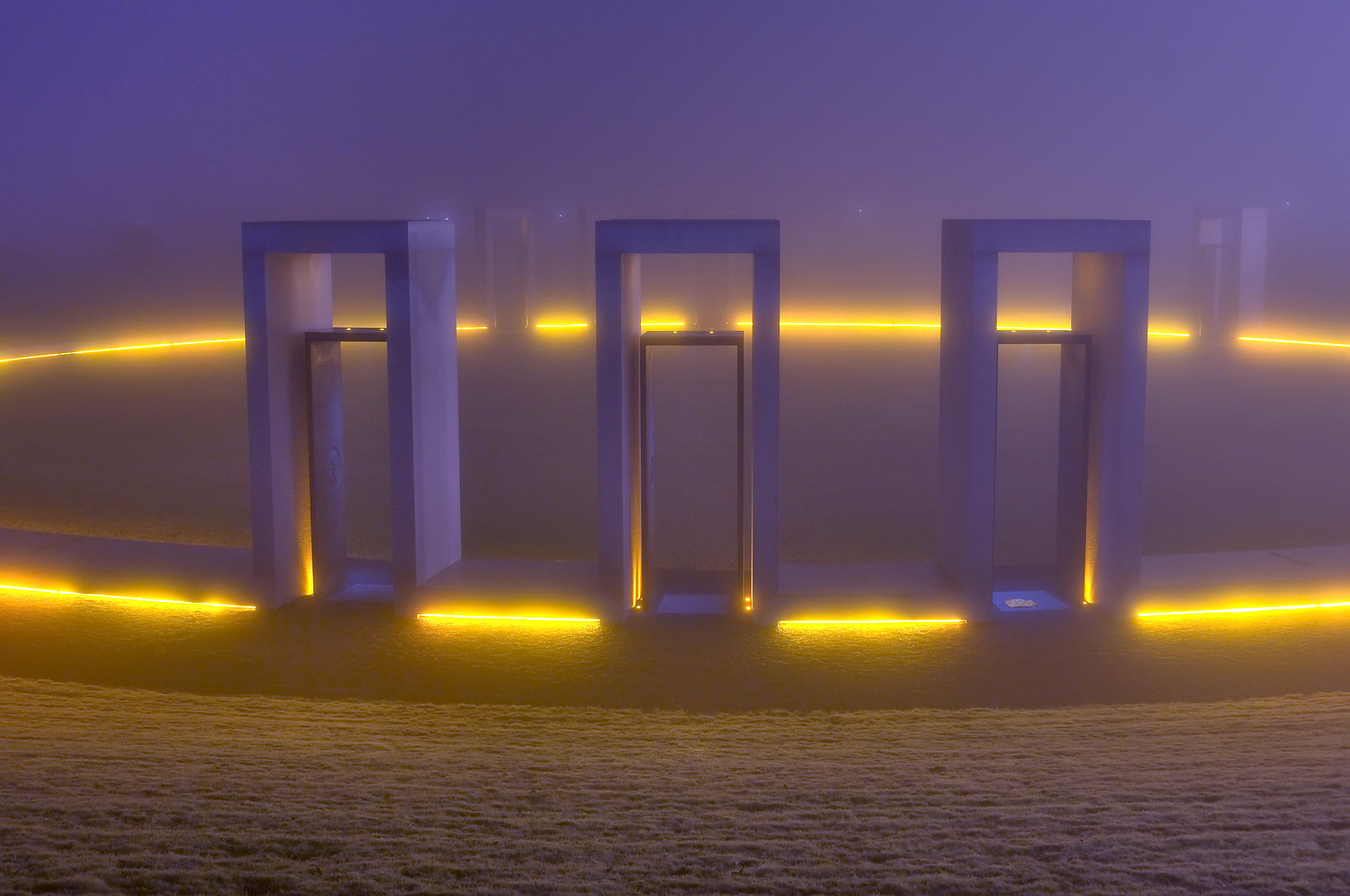 Bonfire Memorial in fog on campus of Texas A&M University. College Station, Texas