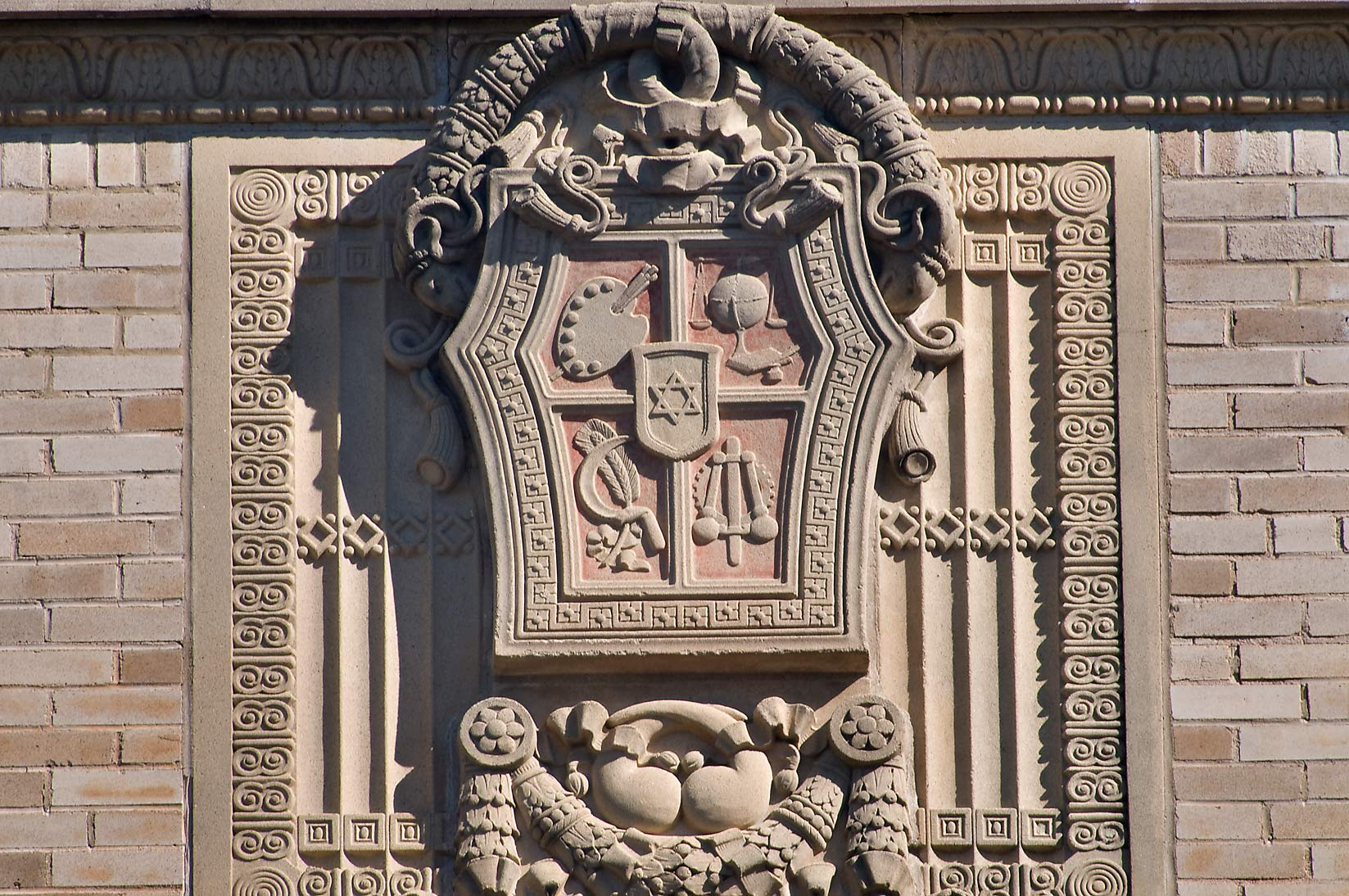 Shield with retorts on southern facade of...M University. College Station, Texas