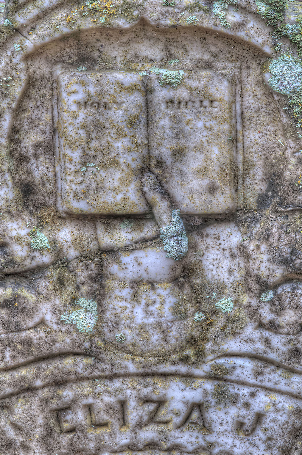 Bible on a marble tombstone in Boonville Cemetery. Bryan, Texas