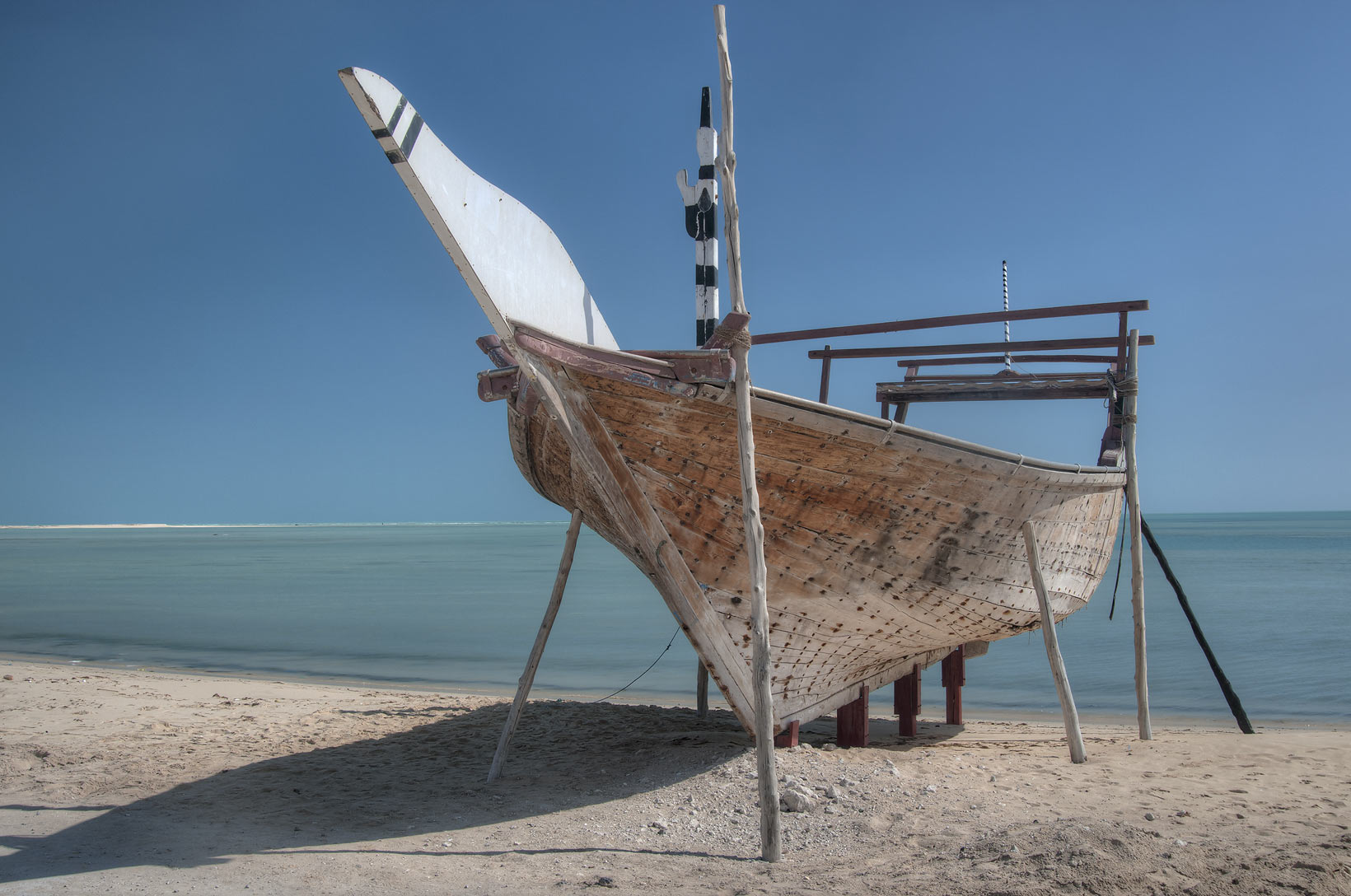 Beached traditional fishing boat in Al Wakra, Qatar