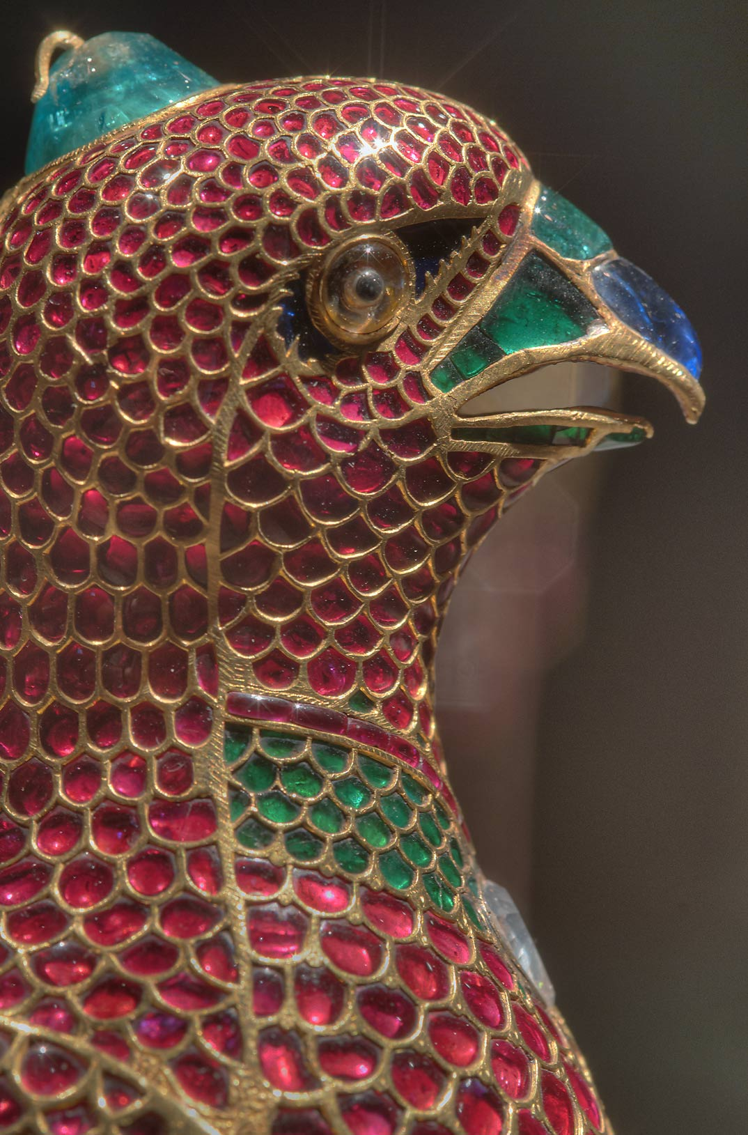 Enamel on a head of jeweled falcon (India, c...in Museum of Islamic Art. Doha, Qatar
