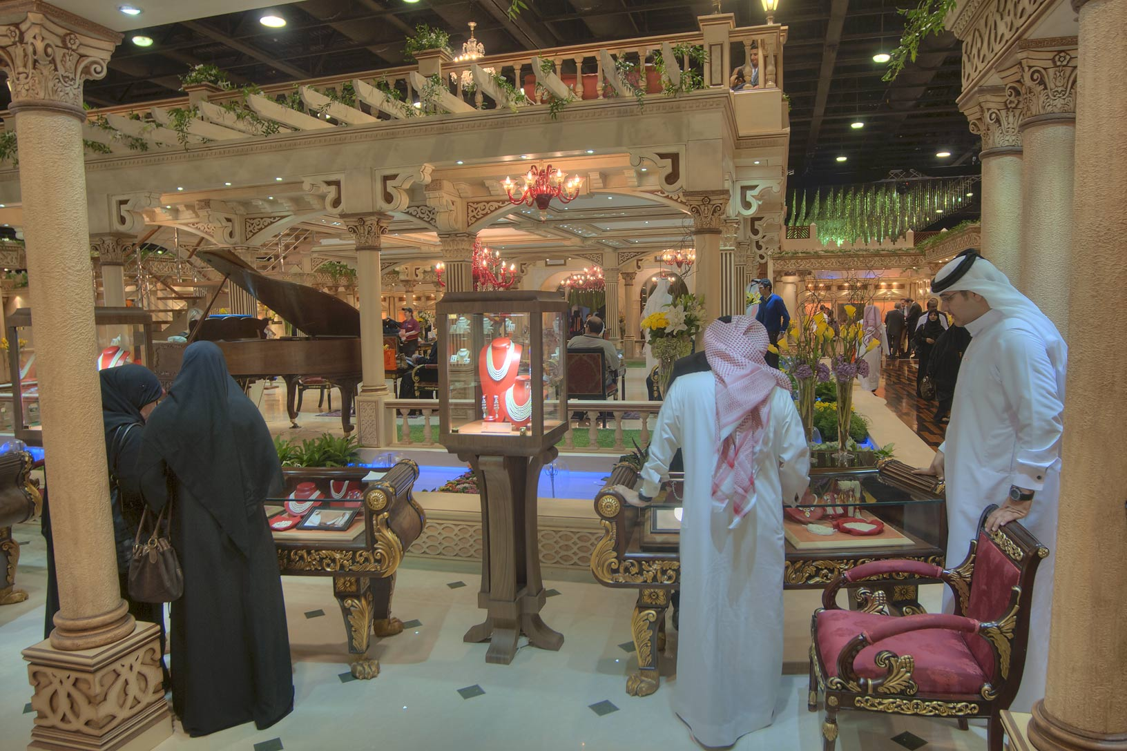 Shopping in a pavilion of jewelry show in Exhibition Center. Doha, Qatar