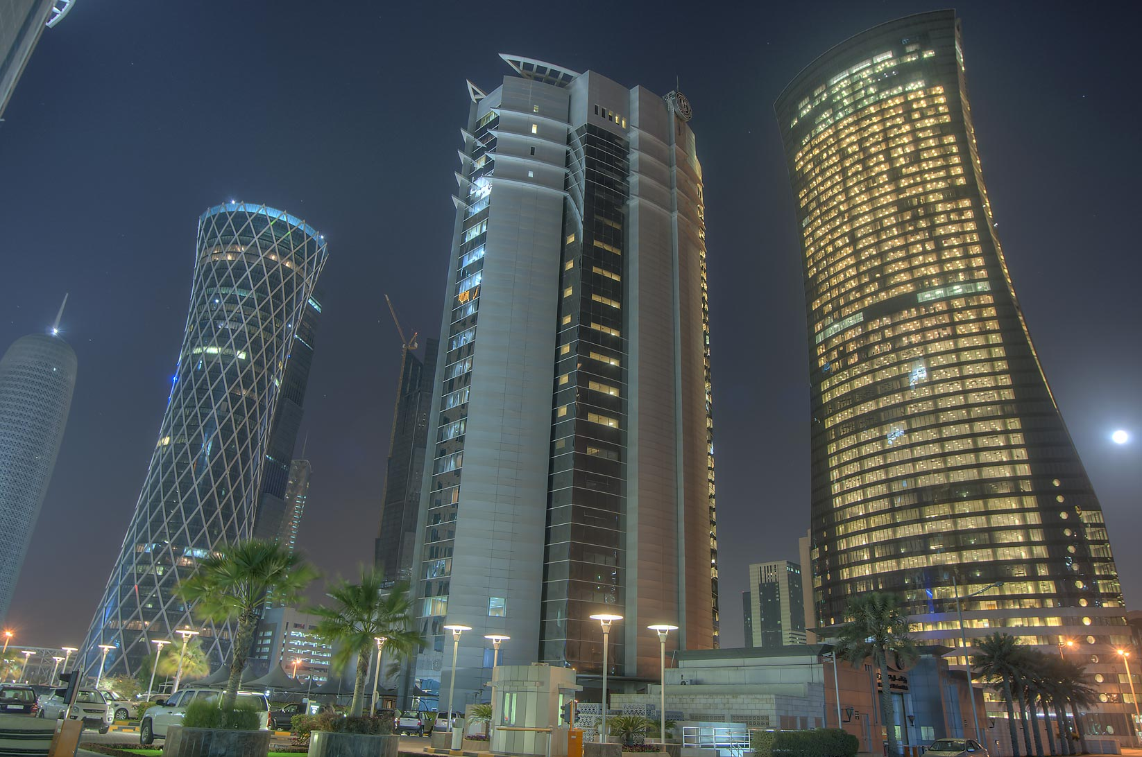 Office towers in West Bay behind City Center Mall. Doha, Qatar