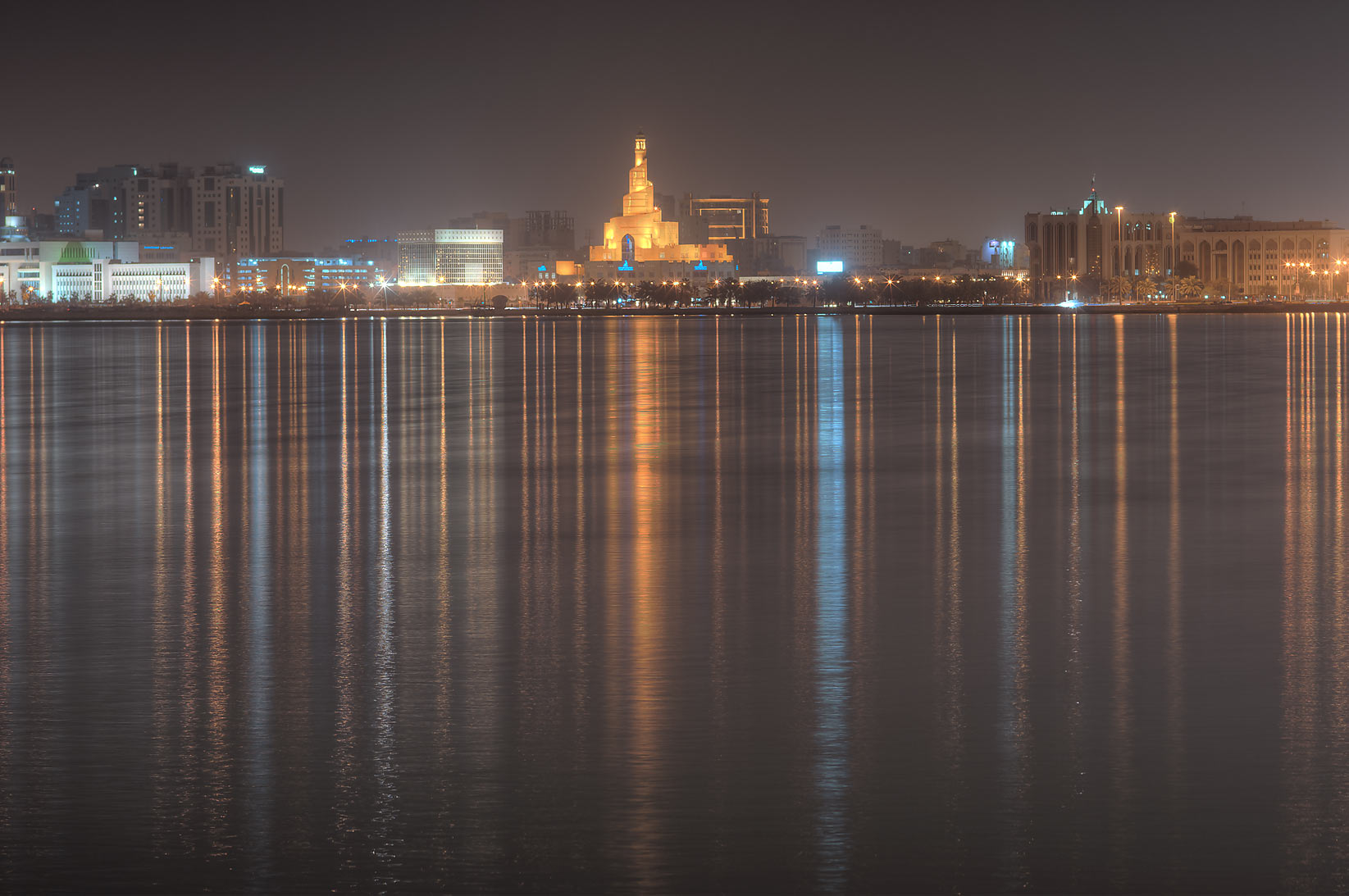 Spiral mosque across the gulf, view from Corniche. Doha, Qatar