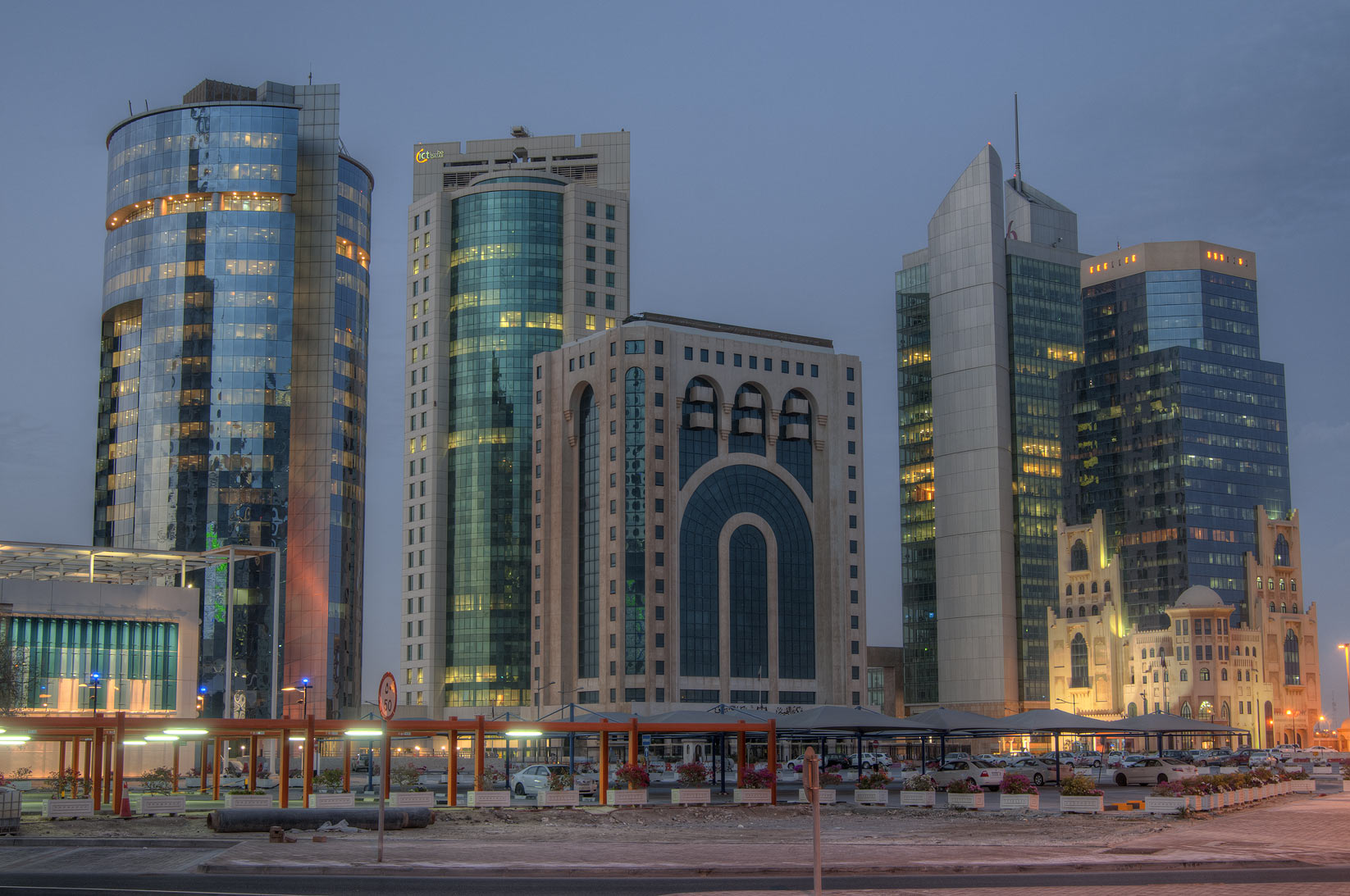 Area around Law Courts and Barzan Tower on Majlis Al Taawon St. in West Bay. Doha, Qatar