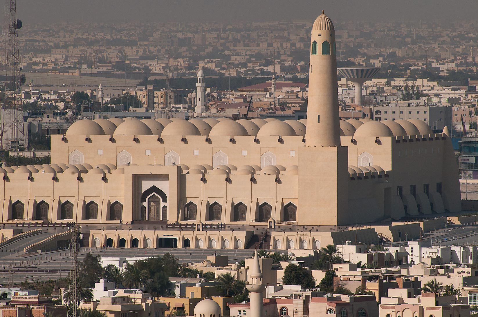 State Mosque at Al-Khuwair at sunrise, view from...2303 of ASAS Tower West. Doha, Qatar