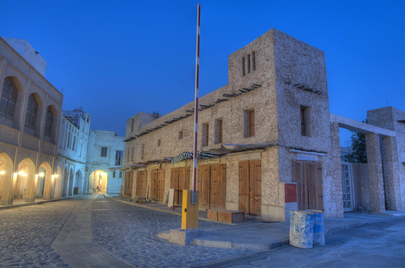 Corner of alleys in Souq Waqif (Old Market) at morning. Doha, Qatar