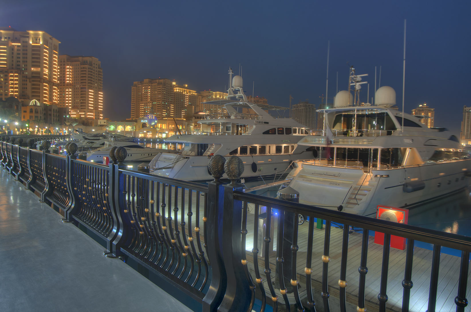 Promenade of Porto Arabia in Pearl Qatar development. Doha, Qatar