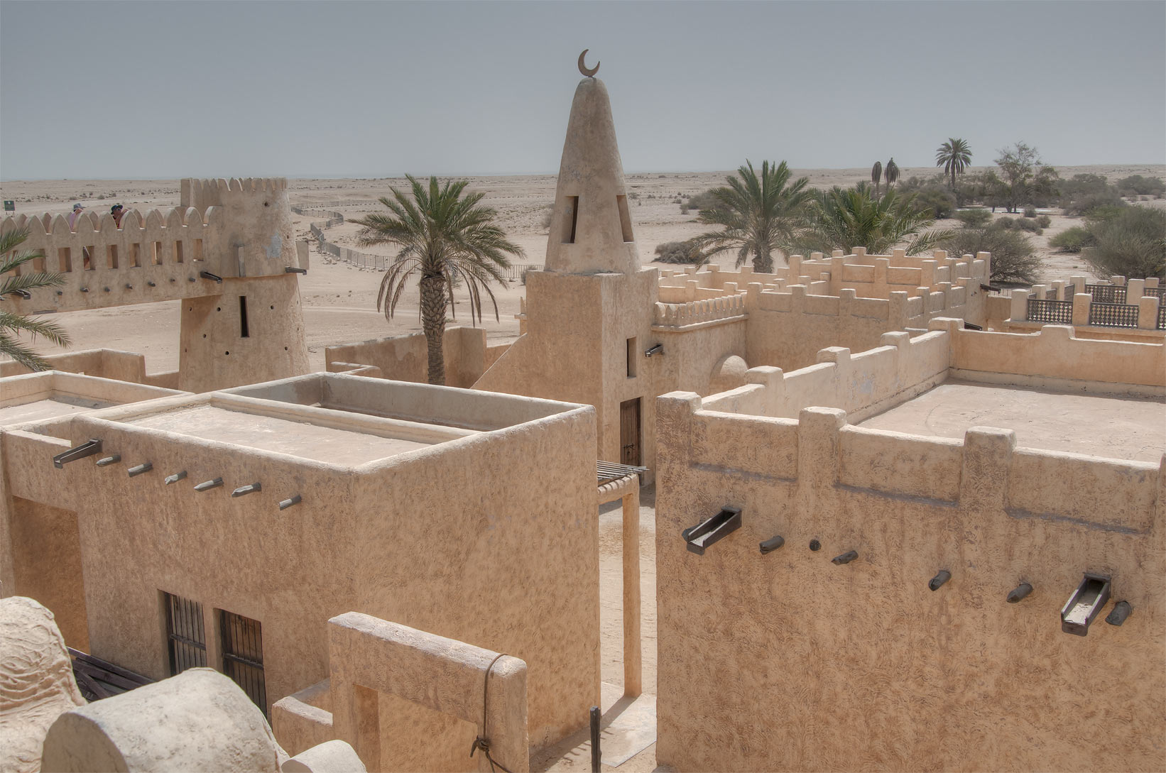 Houses, minarets and enclosed courtyards in Film...area, north from Zekreet. Qatar
