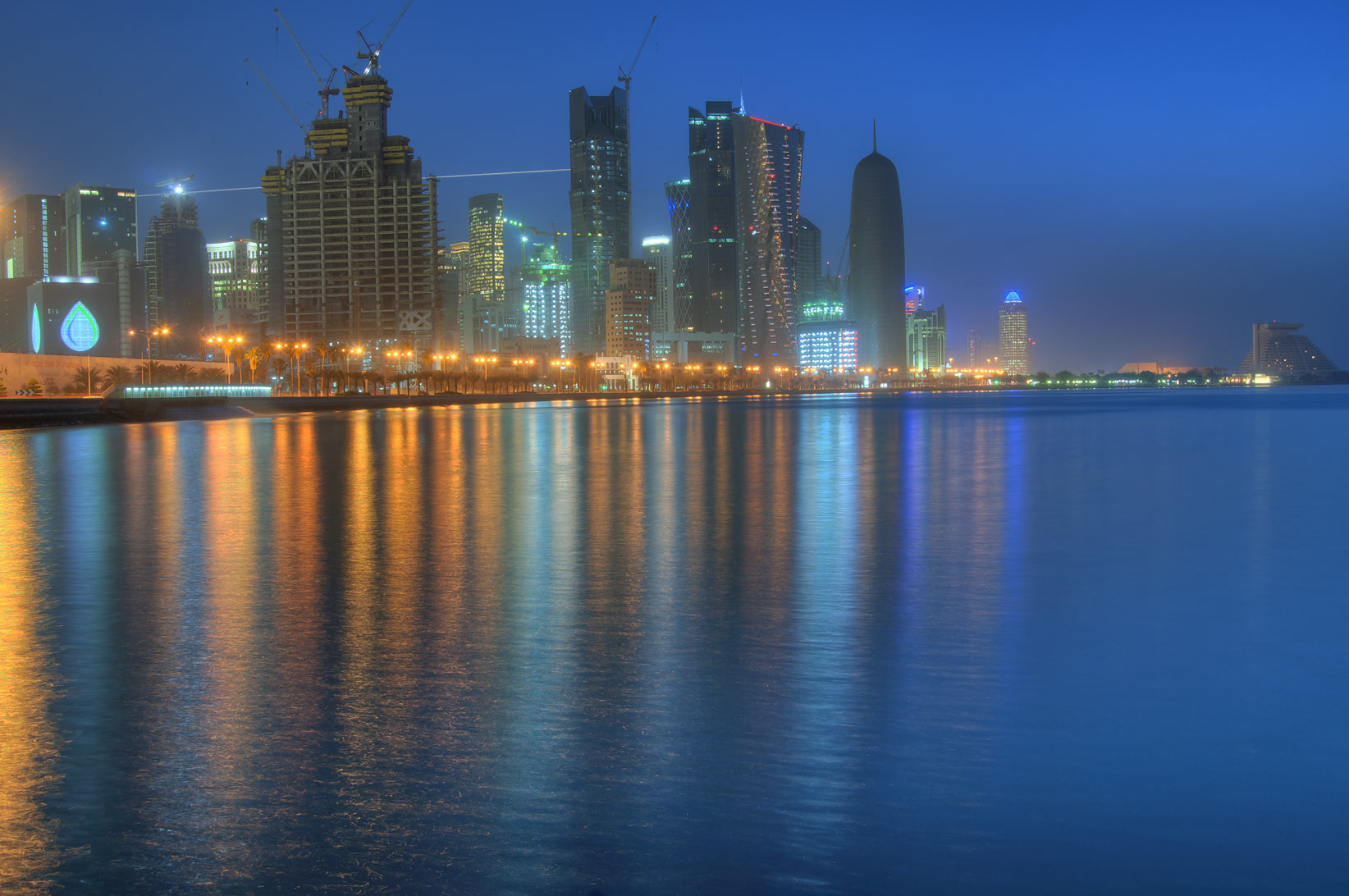 West Bay, view from Corniche (seafront promenade) at morning. Doha, Qatar