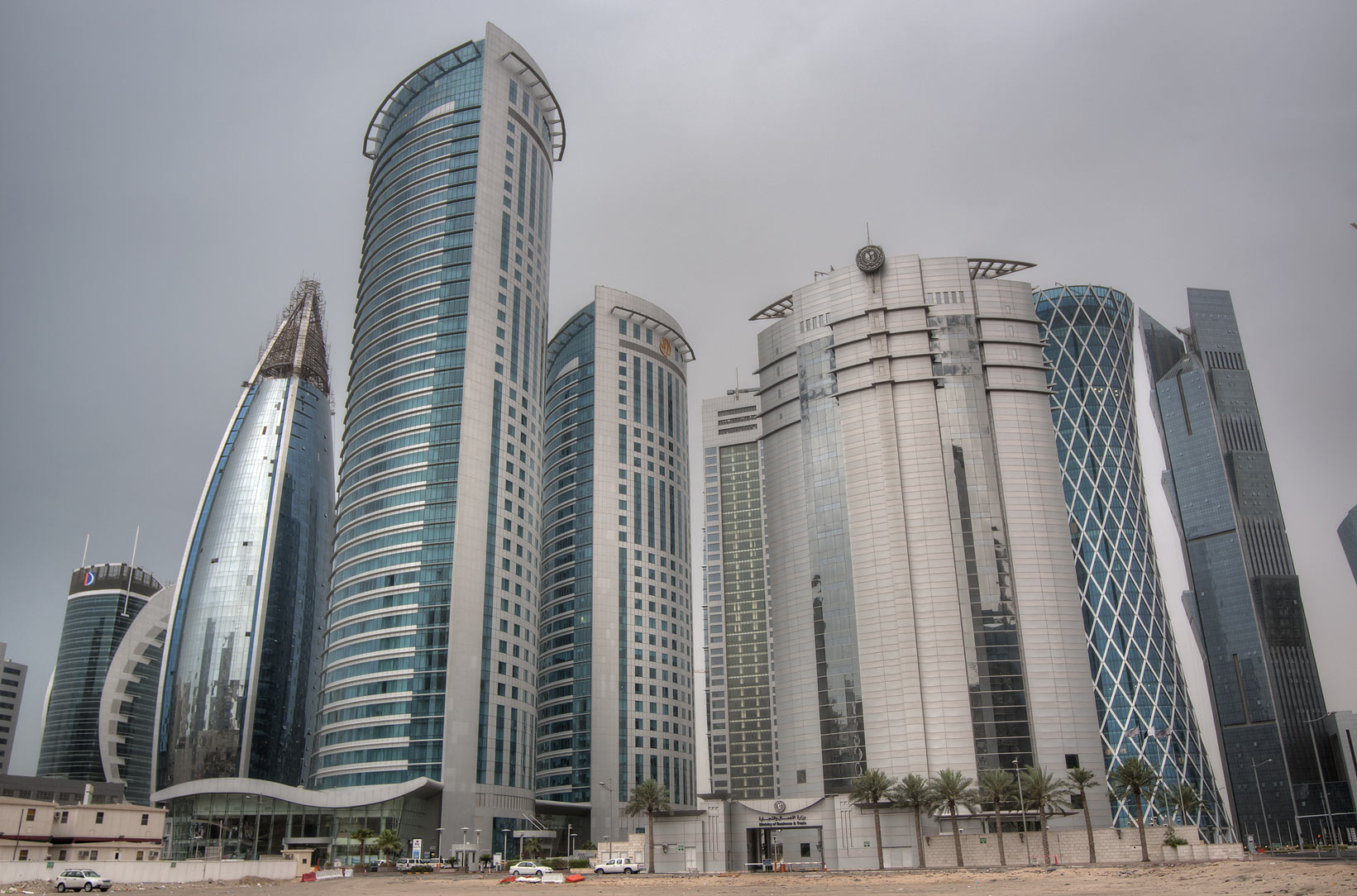 Office buildings from a backyard of City Center Mall at rain. Doha, Qatar