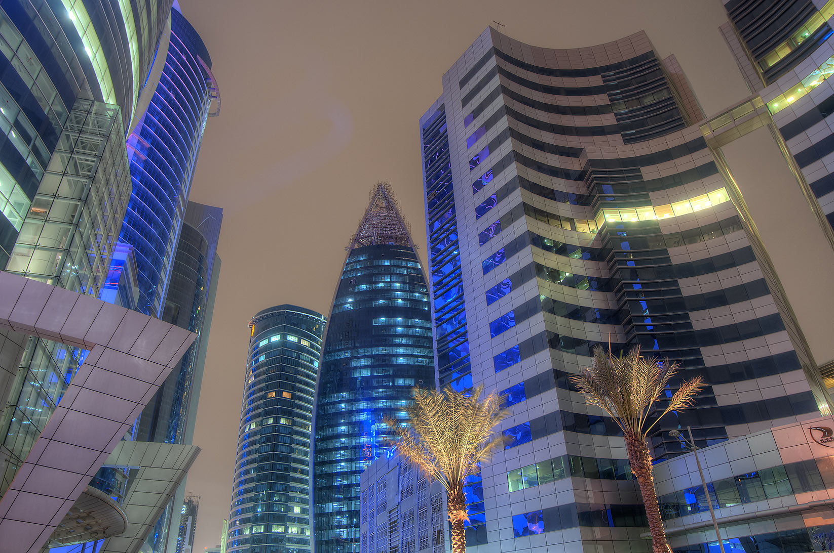 Doha Bank, Woqod Tower and Public Works Authority...from Sheraton Roundabout. Doha, Qatar