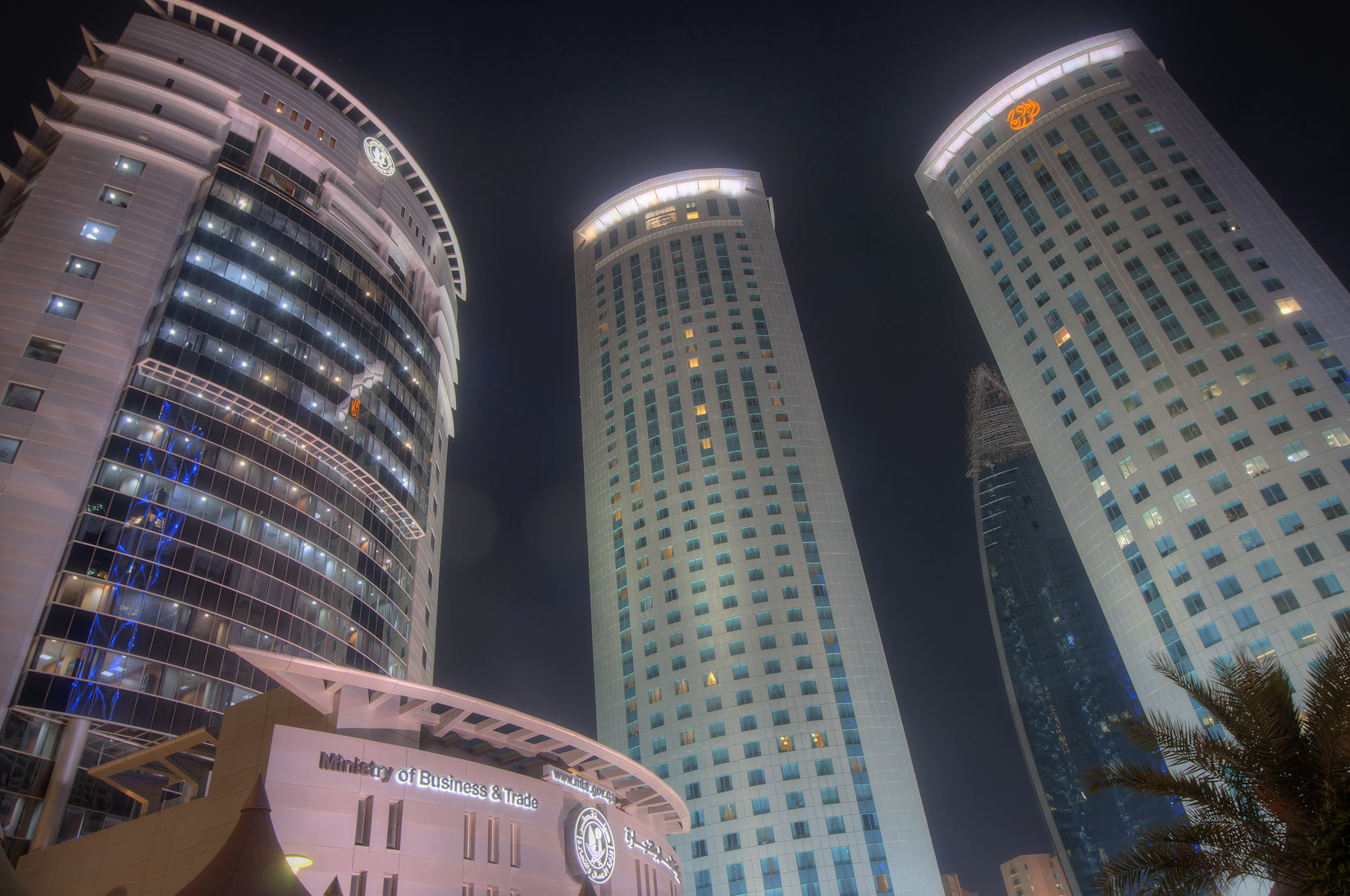 Ministry of Business and Trade and Al Fardan Towers in West Bay at evening. Doha, Qatar