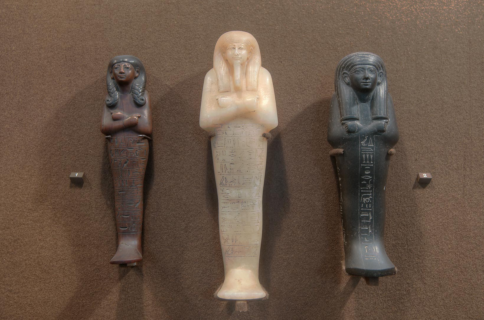 Egyptian statues from nephrite in Hermitage Museum. St.Petersburg, Russia