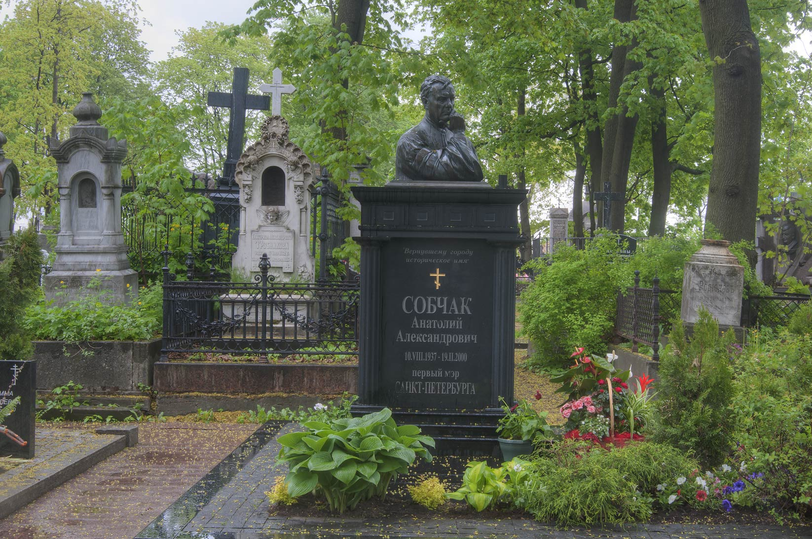 Tomb of a Russian politician A. Sobchak in...Nevsky Lavra. St.Petersburg, Russia