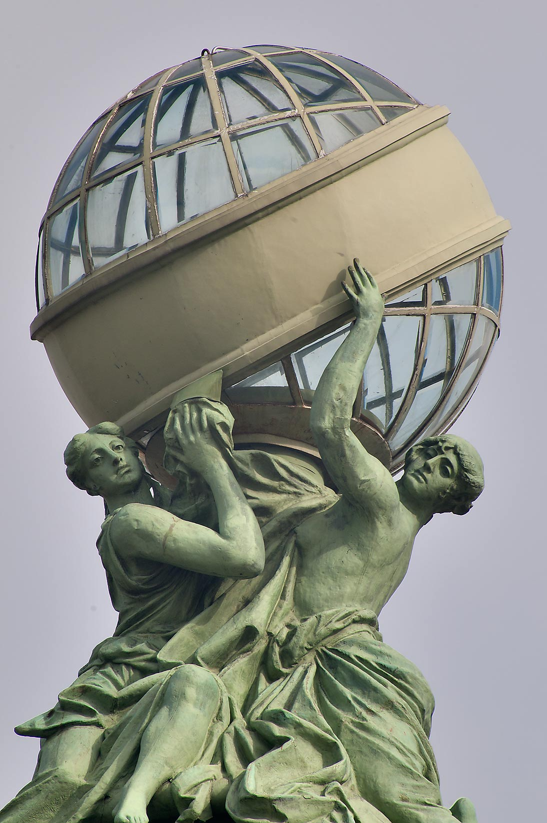 Glass globe (trademark of Singer) on the top of...Nevsky Prospect. St.Petersburg, Russia